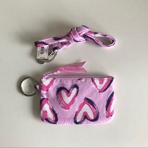 Vera Bradley Hearts Iced Pink Zip ID Lanyard Set
